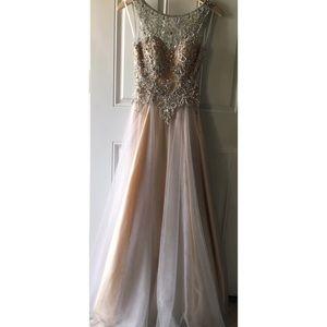 Grey/Nude Prom Dress